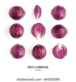 Seamless pattern with red cabbage. Vegetables abstract background. Red cabbage  the white background.