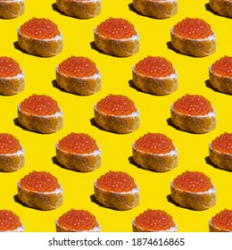Seamless pattern with red caviar sandwich on yellow background.