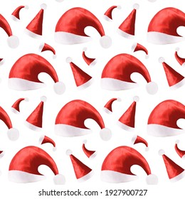 seamless pattern of red Christmas hats isolated on a white background