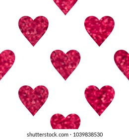 Seamless pattern with red hearts for Wedding, Valentine's Day, Birthday, etc. design. Sequins in shape of heart.