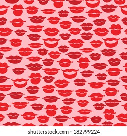 Seamless pattern with red lips
