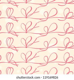 Seamless pattern with red ribbons