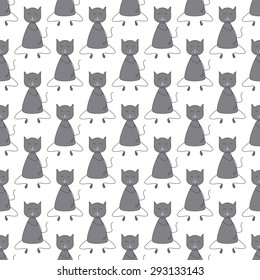 Seamless pattern with repeating cute grey colored cat with dark grey outline sitting with closed eyes and licking its paw with pink tongue