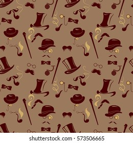 Seamless pattern in retro style. Men silhouettes smoking cigar and pipe, vintage background in brown colors. Raster version