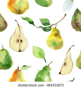 Seamless pattern of ripe pear and half of an pear. Seamless pattern with pears. Watercolor hand drawing. Watercolor pears.