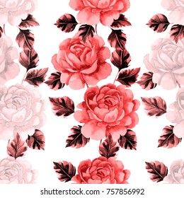 Seamless pattern with roses. Hand draw watercolor illustration