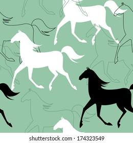 Seamless pattern with running horses. JPG version.