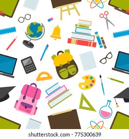 seamless pattern with school elements. Raster version