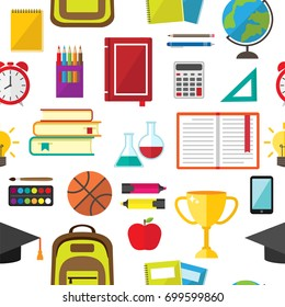 seamless pattern of school supplies, education symbols and stationery icons