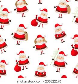 seamless pattern set of Santa Clauses.