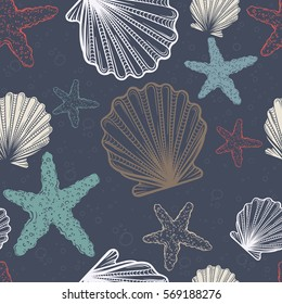 Seamless pattern with shells and starfish.  Seamless pattern can be used for wallpaper, pattern fills, web page background, surface textures.