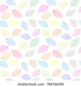 Seamless  pattern with skeleton leaves.. Endless texture for your design.