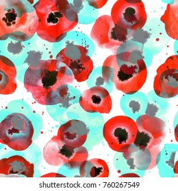 Seamless pattern with sketches poppies. Watercolor hand drawn texture for your beautiful design.