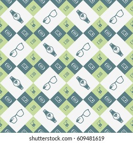 seamless pattern of smart devices and electronics. Geometric pattern with elements of modern technology. Raster version.