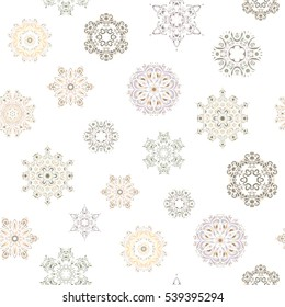 Seamless pattern with snowflakes, doodles and dots in beige, gray and neutral colors on white background. Handmade drawing. For the Christmas design and decoration. Watercolor painting effect.