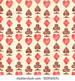 Seamless pattern with Spades, Hearts, Diamonds and Clubs on a background of kraft paper