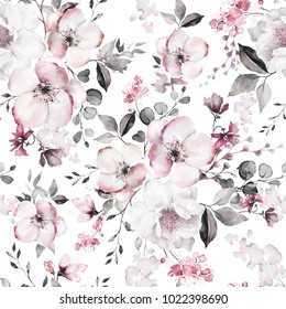 Seamless pattern with spring pink  flowers and leaves. Hand drawn background.  floral pattern for wallpaper or fabric. Flower rose. Botanic Tile.
