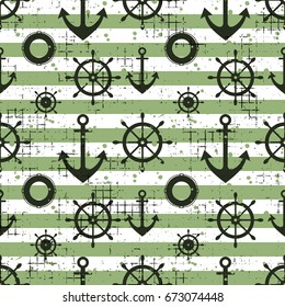 Seamless pattern Steering wheel, life preserver, anchor, horizontal lines Creative geometric vintage backgrounds, nautical theme Graphic illustration with attrition, cracks and ambrosia