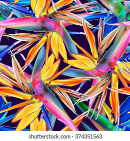 Seamless pattern with strelitzia, summer tropical texture, color abstract background
