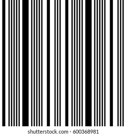 Seamless pattern. Striped abstract background. Minimalistic monochrome texture. Vertical line. Black and white color