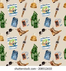 Seamless pattern with stylish, fashion warm clothes