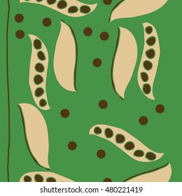 Seamless     pattern of  stylized floral motif,  peas . Hand drawn.