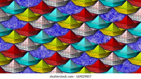 Seamless pattern with stylized paper boat in four colors