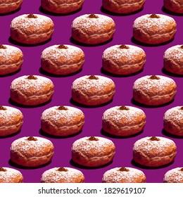 Seamless pattern with sufganiya for Jewish holiday Hanukkah on violet background.