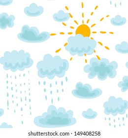 seamless pattern sun, clouds and rain raster image