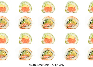 Seamless pattern with sushi with salmon, avocado and cucumber isolated on white background. Japanese food pattern