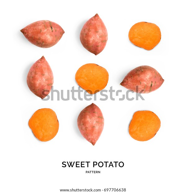 Seamless pattern with sweet potato. Vegetables abstract background. Sweet potato on the white background.