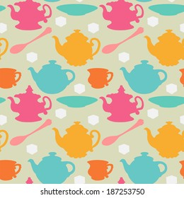 Seamless pattern with teapots, cups, mugs, spoons, saucers and sugar. Colored silhouette - raster version