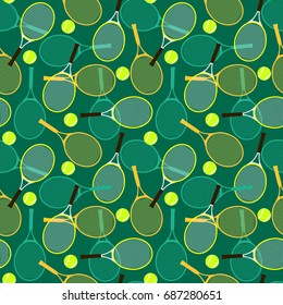Seamless pattern with tennis rackets and balls.