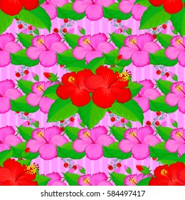 Seamless pattern of tropical flowers (hibiscus) with watercolor effect on pink background.