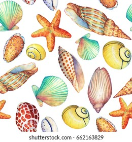 Seamless pattern with underwater life objects, isolated on white background. Marine design-shell, sea star. Watercolor hand drawn painting illustration. Element for posters, greeting cards.