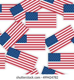 seamless pattern - US flags with shadows