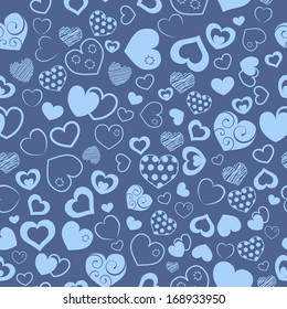 Seamless pattern of various hearts, in light blue colors