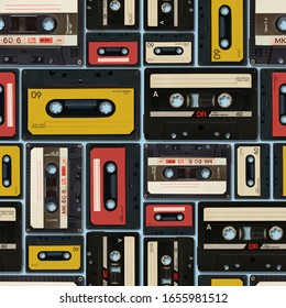 Seamless pattern, vintage audio tapes placed next to each other