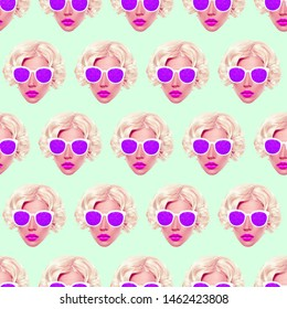 Seamless pattern. Vintage Retro Lady. Use for t-shirt, greeting cards, wrapping paper, posters, fabric print.