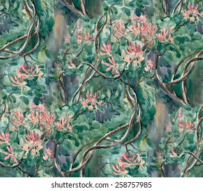 Seamless pattern: watercolor curly honeysuckle