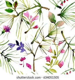 Seamless pattern with watercolor drawing flowers, hand drawn, pine needles, wild herbs. Original floral background.