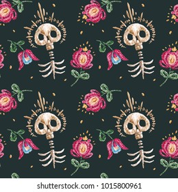 Seamless pattern with watercolor embroidery, drawing, ornament. Day of the Dead, All Saints Day, Mexico, Guatemala, skull, skeleton.