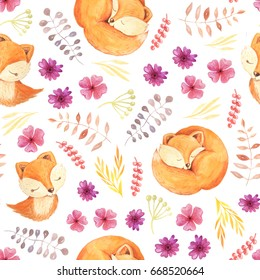 Seamless pattern with Watercolor forest cute sleep and dream fox, flowers, fall leaves and branches. Autumn forest floral decorative background perfect for fabric textile