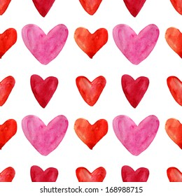 Seamless pattern with watercolor hearts