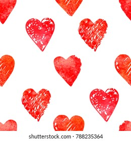 Seamless pattern with watercolor hearts shape in a modern style. Happy Valentines day illustration. For wallpaper, pattern fills, web page, textures, textile, wrapping paper