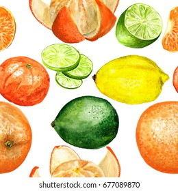 Seamless pattern with watercolor images of citruses.