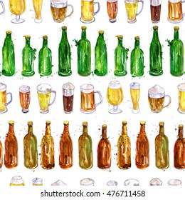 seamless pattern with watercolor mugs, bottles and glasses of beer, alcohol drinks ornament, oktoberfest background, hand drawn illustration,oktoberfest template