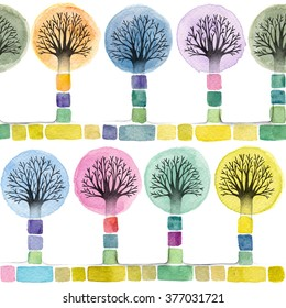 seamless pattern - watercolor and pencil illustration of cute trees