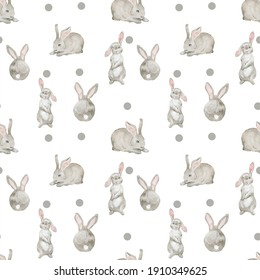 Seamless pattern with watercolor rabbits, hand drawn isolated on a white background