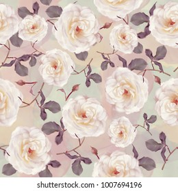 seamless   pattern of watercolor roses . Endless texture for your design.